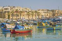Fishing Boats In The Harbour, ,Marsaxlokk Village, Malta