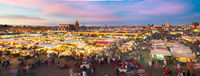 Jamaa el Fna market square in sunset, Marrakesh, Morocco, north Africa.