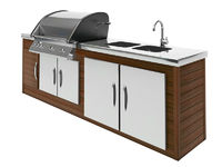 stainless steel barbecue with wooden table