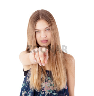 girl pointing at you