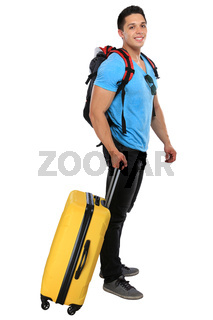 Junger Mann zieht Koffer Reise reisen verreisen Urlaub jung lachen Freisteller