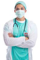 Junger Arzt Doktor Portrait Mundschutz Beruf Arztkittel Freisteller