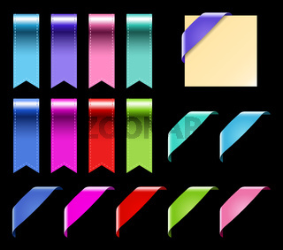 Web Ribbons Set With Gradient, isolated on black Vector Illustration