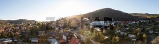 Sonnenaufgang morgens über Stadt Wernigerode