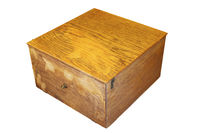 very old wooden box isolated over white background for your design