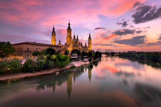 Basilica de Nuestra Senora del Pilar and Ebor River in the Evening, Zaragoza, Aragon, Spain