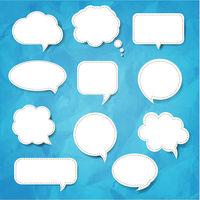 Speech Bubble Set Blue Background
