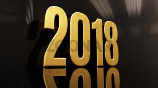 Happy New Year 2018 Text Design 3D Illustration