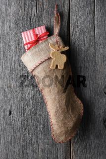 Old fashioned burlap Christmas Stocking