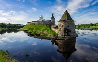 Medieval Pskov Kremlin on island