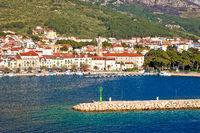 Makarska boats and waterfront under Biokovo mountain view