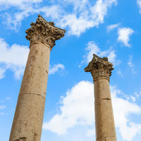 two column on Agora ancient market in Jerash