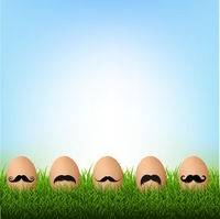 Grass Border With Mustache Easter Card