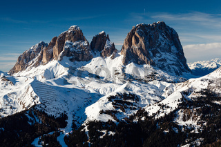 Passo Sella Peak on the Ski Resort of Canazei, Dolomites Alps, Italy
