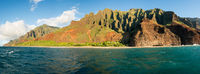 Na Pali coastline taken from sunset cruise along Kauai shore