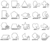basic geometric shapes with animal characters