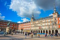 Tourists at Mayor Plaza. Madrid