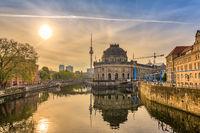 Berlin sunrise city skyline at Museum Island and Berline TV Tower, Berlin, Germany