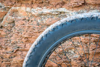 fat bike wheel against sandstone