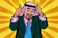 Two thumbs up, Emotional Arabic joyful businessman