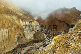 Stream from melting of glaciers on the active volcano Mutnovsky.