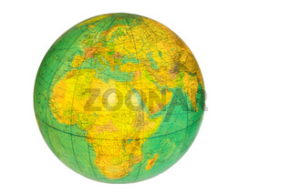 Globe with planet earth isolated on white