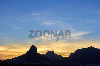 Dusk in Two Brothers hill and Gavea Stone