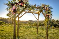 Jewish traditions wedding ceremony. Wedding canopy chuppah or huppah with clear skies