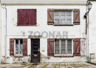 Dilapidated house facade