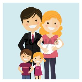 Family with two children and a newborn baby on blue background