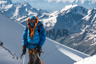 professional climbers go to the western peak of Elbrus