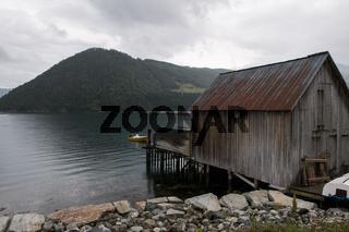 Fischerhütte am Näroyfjord, Norwegen