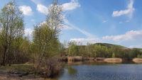 Rekultivierte Landschaft an den Arkenbergen in Berlin im Frühling