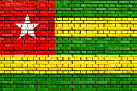 flag of Togo painted on brick wall