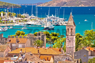 Trogir landmarks and turquoise sea view