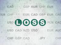 Finance concept: Loss on Digital Data Paper background