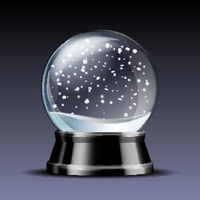 Snow globe with falling snowflakes.