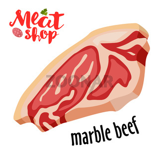 Meat vector - marble beef icon. Fresh meat icon.