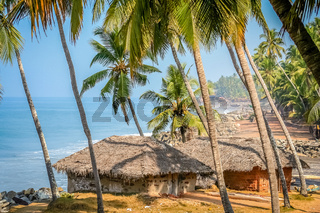 Huts on cliffs in Goa