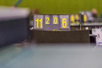 Anzeigetafel des Spielstandes während eines Tischtennisturniers.