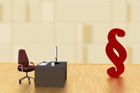Office with paragraph sign, 3d illustration