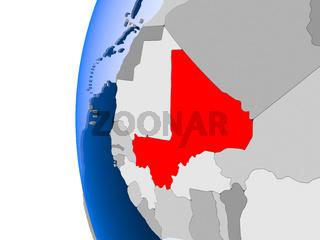Map of Mali on political globe