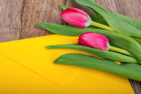 Envelope and red tulip on a wooden table