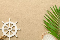 Summer Background with Green Palm Leaf, Decorative Ship Steering Wheel and Shell