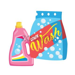 vector cartoon washing powder, laundry powder package design flat style.