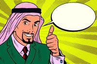 thumbs up, Arab businessman do like