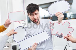 Sprechblasen für Kommunikation und Ideen