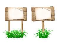 Empty paper blank on wooden signboard