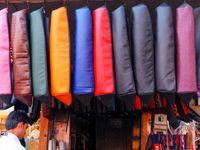 Display of motorbike seat covers at the street market in Jaipur, Rajasthan, India
