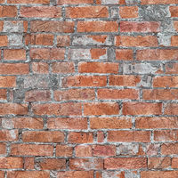 Wall of red brick seamless pattern. Architectural grunge texture
